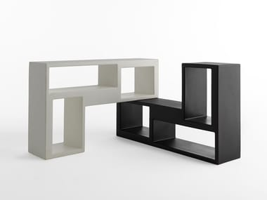 Modular polyethylene bookcase URBAN