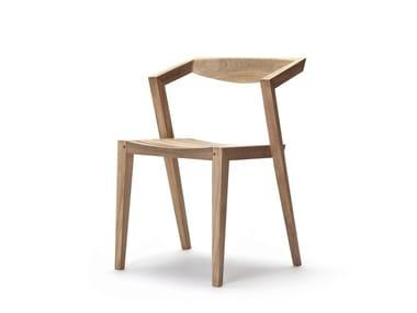 Stackable teak garden chair URBAN