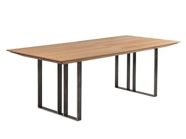 Extending rectangular steel and wood dining table URBAN