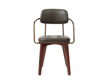 Upholstered leather chair UTILITY ARMCHAIR U