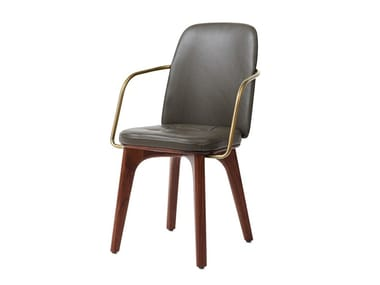 Upholstered leather chair UTILITY HIGHBACK ARMCHAIR