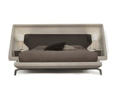 Leather bed double bed with upholstered headboard V146 | Bed