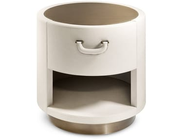 Round leather bedside table VALENTINO   Bedside table
