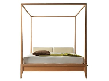 Double bed with upholstered headboard VALENTINO | Canopy bed