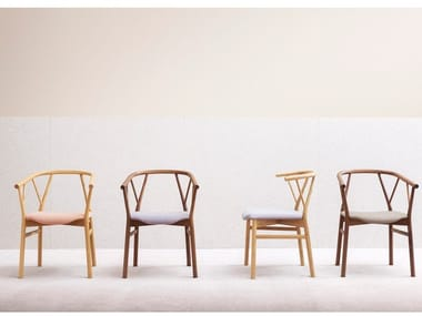 Wooden chair with armrests VALERIE | Chair