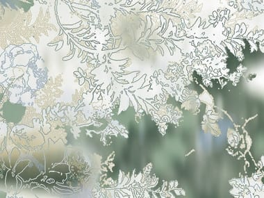 Non-woven paper wallpaper with floral pattern VAN GREEN