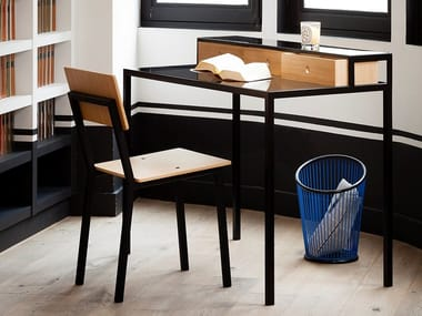 Tempered glass secretary desk with drawers VANEAU | Secretary desk
