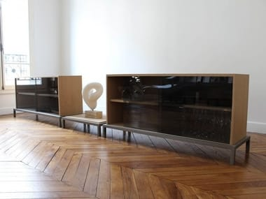 Wood and glass TV cabinet / sideboard VANEAU | Wood and glass sideboard