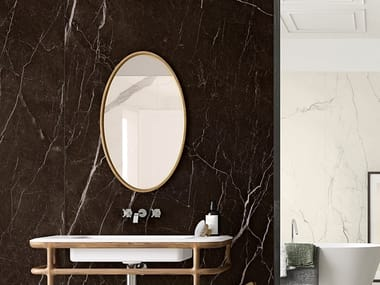 Pavimento/rivestimento in gres laminato effetto marmo VANITY - DARK BROWN