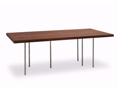 Rectangular stainless steel and wood table VARIABILE