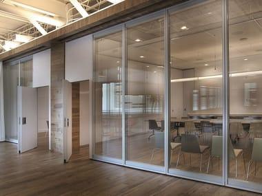 Automatic sliding glass office partition VARIFLEX