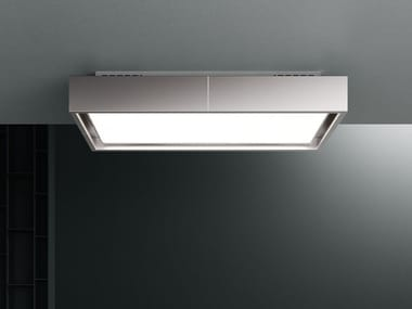 Ceiling-mounted stainless steel cooker hood with activated carbon filters with integrated lighting VEGA