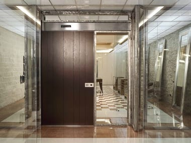 Sliding wooden safety door VELA | Wooden entry door