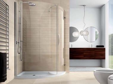 Semicircular shower cabin with hinged door VELAS VLPTL+VLFI+VLPO