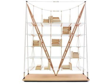 Wood and glass bookcase 838 VELIERO