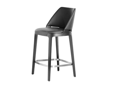 High leather stool with footrest VELIS | High stool