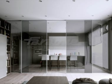 Glass and aluminium sliding door VELO ALU