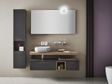 Wall-mounted vanity unit with mirror VELVET 12/13