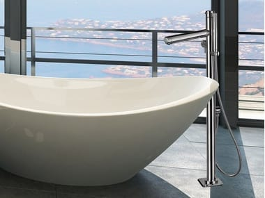 Floor standing stainless steel bathtub mixer with hand shower VENERE | Bathtub mixer