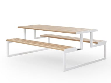 Rectangular picnic table with integrated benches VENTIQUATTRORE.H24 | Picnic table