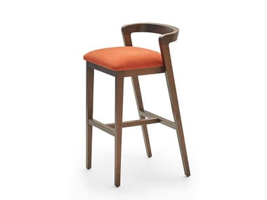 Upholstered stool with footrest VENUS | Barstool