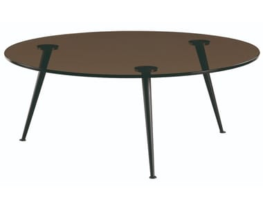Round glass and steel coffee table VENUS | Round coffee table