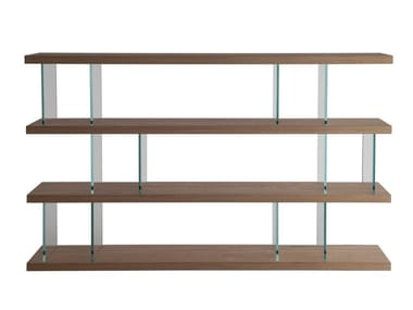 Open wood and glass bookcase VERO | Bookcase
