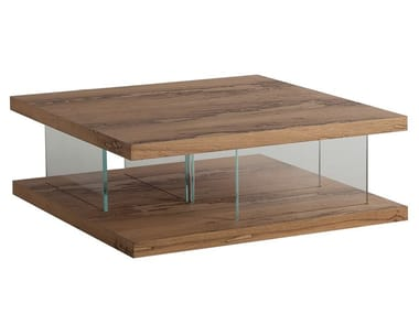 Low wood and glass coffee table VERO | Coffee table