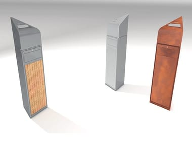 Outdoor litter bin with lid with ashtray VERSA V2/V3