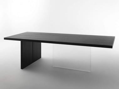 Tavolo da pranzo rettangolare in legno e vetro VERTIGO