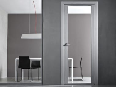 Hinged glass and aluminium door with concealed hinges VETRA PRO