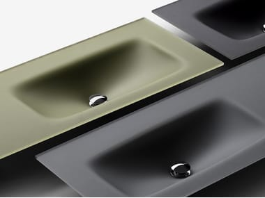 Satin glass washbasin with integrated countertop VETRO | Satin glass washbasin