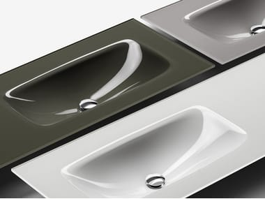 Glass washbasin with integrated countertop VETRO | Glass washbasin