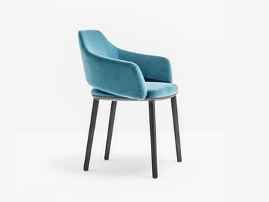 Upholstered fabric chair with armrests VIC 645