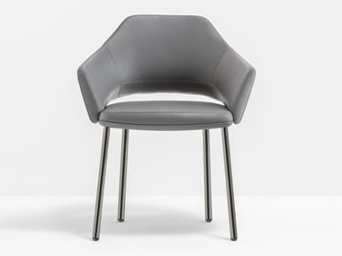 Upholstered leather chair with armrests VIC 646
