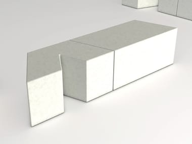 Modular backless reconstructed stone Bench VICEVERSA V01/V02/V03