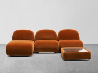 Divano modulare in tessuto con chaise longue VICTORIA | Divano con chaise longue