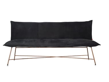 Leather small sofa VIDAR COPPER