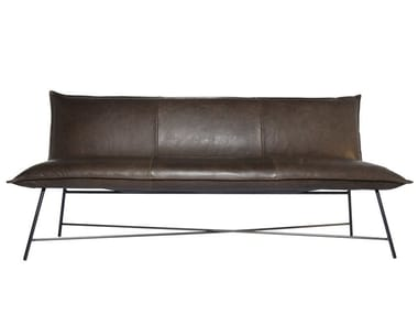 Leather 3-seater dining sofa VIDAR | Leather small sofa