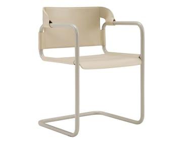 Cadeira cantilever de couro com braços VIENNA