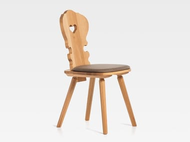 Wooden chair with integrated cushion VIENNA | Chair with integrated cushion