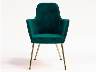 Upholstered velvet chair with armrests VIENNA