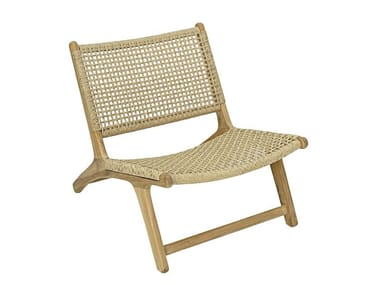Garden rope and teak easy chair VIENNA RELAX | Rope easy chair