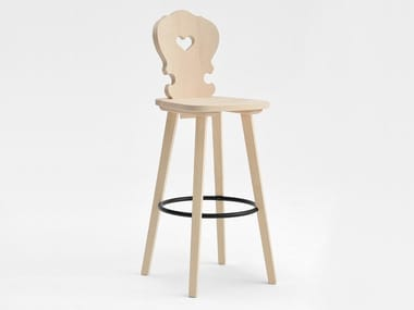 Wooden barstool with footrest VIENNA | Wooden stool