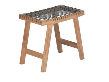 Low teak garden stool VIENNA | Stool