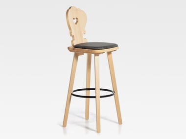 Upholstered wooden barstool with footrest VIENNA | Upholstered stool