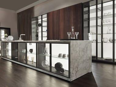 Custom wood and glass kitchen with island VILLA LIVIA