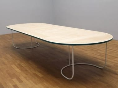 Oval wooden table VILLA | Table