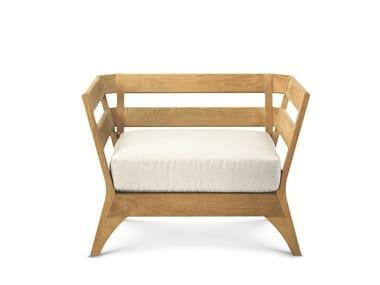 Teak garden armchair with armrests VILLAGE | Garden armchair