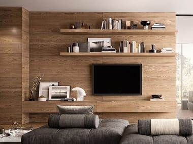 Wall-mounted wooden storage wall VINTAGE ROVERE SETA | Storage wall